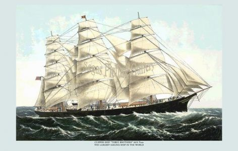 Fine art print of the Clipper Ship - Three Brothers
